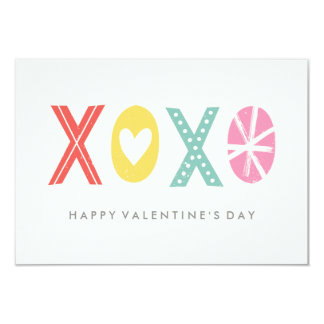 Illustrated XOXO Classroom Valentine - Aqua 9 Cm X 13 Cm Invitation Card