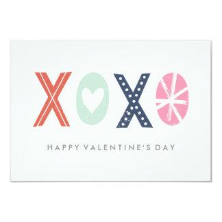 Illustrated XOXO Classroom Valentine - Navy 9 Cm X 13 Cm Invitation Card