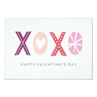 Illustrated XOXO Classroom Valentine - Plum 3.5x5 Paper Invitation Card