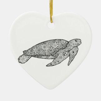 Illustrated Zentangle Art Sea Turtle Ornament