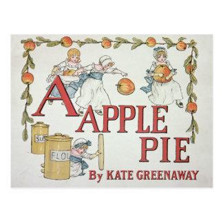 Illustration 'A' from 'Apple Pie Alphabet' Postcard