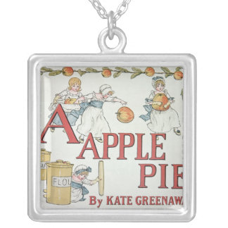 Illustration 'A' from 'Apple Pie Alphabet' Silver Plated Necklace