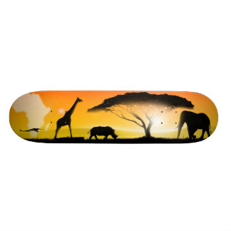 Illustration african landscape skateboard deck