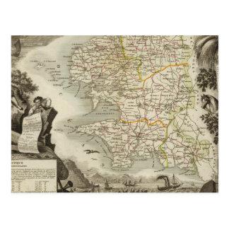 Illustration Atlas Maps Postcard