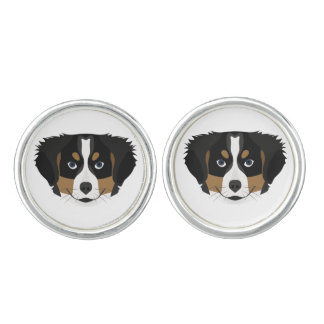 Illustration Bernese Mountain Dog Cufflinks