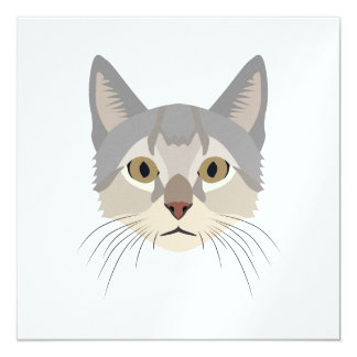 Illustration Cat Face 13 Cm X 13 Cm Square Invitation Card