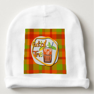 """Illustration Cocktail with fruit """"Cocktail Time"""" Baby Beanie"""