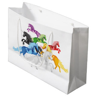 Illustration colorful wild Unicorns Large Gift Bag