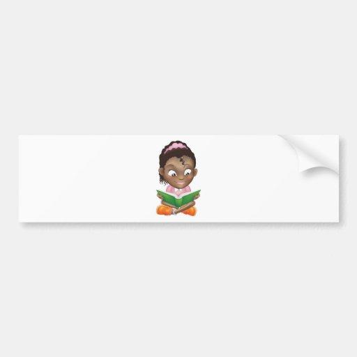 Illustration cute black girl reading book bumper stickers