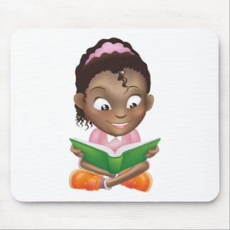 Illustration cute black girl reading book mouse pads