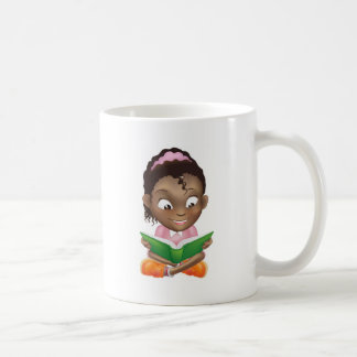 Illustration cute black girl reading book coffee mugs