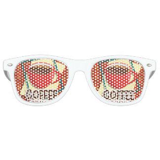 Illustration delicious cup of coffee retro sunglasses
