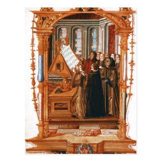 Illustration  depicting  choir singing the postcard