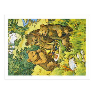 Illustration depicting three picnicking bears postcard