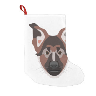 Illustration dogs face German Shepherd Small Christmas Stocking