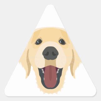 Illustration dogs face Golden Retriver Triangle Sticker