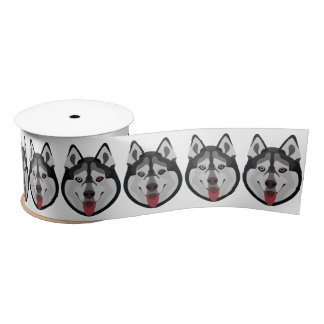 Illustration dogs face Siberian Husky Satin Ribbon