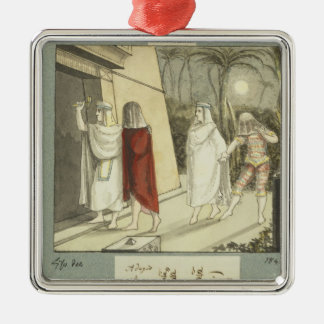 Illustration for Mozart's 'The Magic Flute', 1845 Silver-Colored Square Decoration