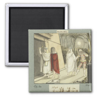 Illustration for Mozart's 'The Magic Flute', 1845 Square Magnet