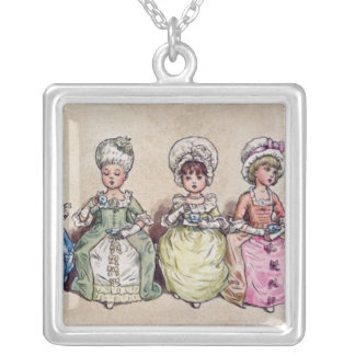 Illustration for 'St. Valentines Day', 1914 Silver Plated Necklace