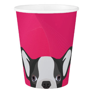 Illustration French Bulldog with pink background Paper Cup