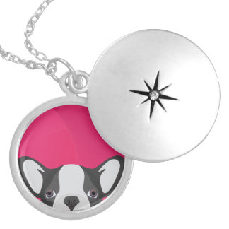 Illustration French Bulldog with pink background Silver Plated Necklace