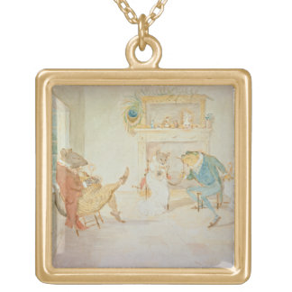 Illustration from 'A Frog He Would a Wooing Go' Gold Plated Necklace