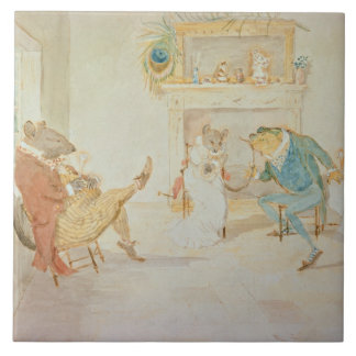 Illustration from 'A Frog He Would a Wooing Go' Large Square Tile