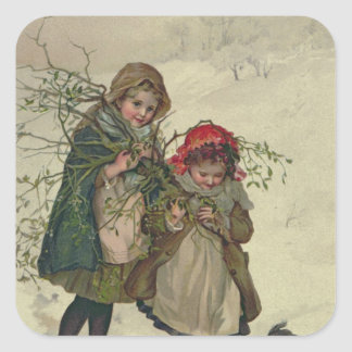 Illustration from Christmas Tree Fairy, pub. 1886 Square Sticker