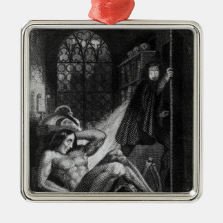 Illustration from 'Frankenstein' Silver-Colored Square Decoration