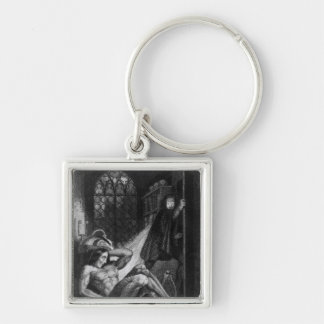 Illustration from 'Frankenstein' Silver-Colored Square Key Ring