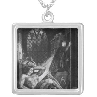 Illustration from 'Frankenstein' Silver Plated Necklace