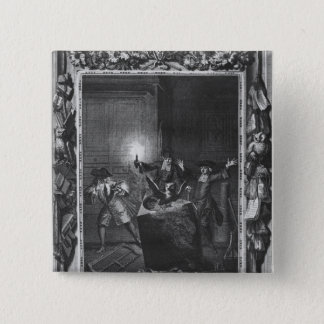 Illustration from 'Le Lutrin' by Nicolas 15 Cm Square Badge