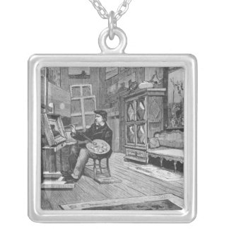 Illustration from 'Le Monde Illustre' Silver Plated Necklace