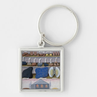 Illustration from the 'Book of Simple Medicines' 2 Silver-Colored Square Key Ring