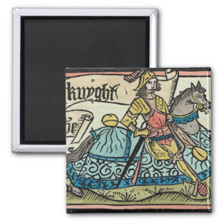 Illustration from 'The Canterbury Tales' Square Magnet