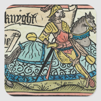 Illustration from 'The Canterbury Tales' Square Sticker