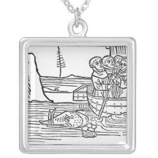 Illustration from 'The Voyage of St. Brendan' Silver Plated Necklace