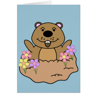 Illustration Groundhog with Flowers Card