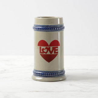 Illustration Heart with Latvian ring LOVE in talk Beer Stein