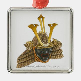 Illustration of 16th century samurai helmet Silver-Colored square decoration