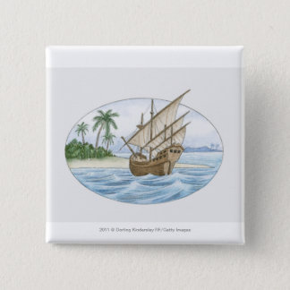 Illustration of 16th Century ship near island 15 Cm Square Badge