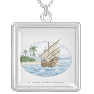 Illustration of 16th Century ship near island Silver Plated Necklace