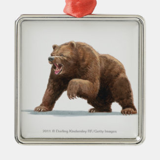 Illustration of a Brown bear Silver-Colored Square Decoration