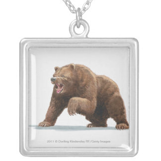 Illustration of a Brown bear Silver Plated Necklace