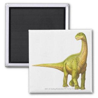 Illustration of a Camarasaurus Square Magnet