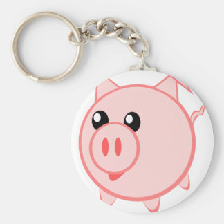 Illustration Of A Cartoon Pig Key Ring