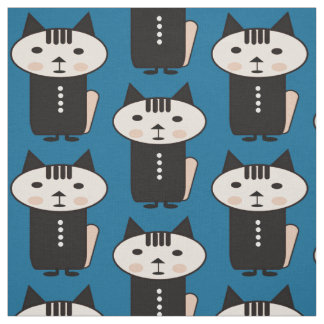 Illustration of a cat a vector design blue fabric