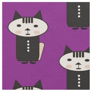 Illustration of a cat a vector design purple fabr fabric