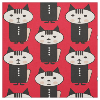 Illustration of a cat a vector design red fabric